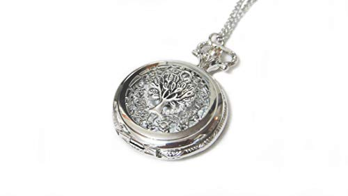 Tree of Life Ornate Silver Pocket Watch Necklace Chain Pendant - Giving Tree Pocketwatch Charm
