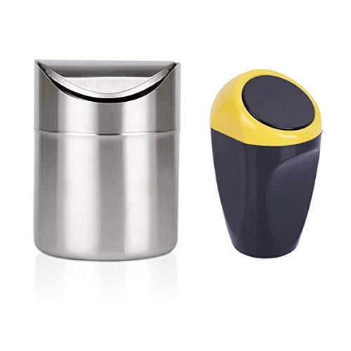 Smavles Papelera de Escritorio 2 Pcs Mini Papelera Mini Cubo de Basura Pequeño para Escritorio Oficina Baño Cocina Coche Residuos Contenedores