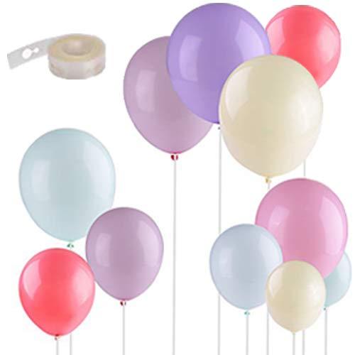 EKKONG 100 Stück Bunte Luftballons, Latex Ballons, mit 1 Rollen 5M Ballon Streifen, für Hochzeit Weihnachten Geburtstag Luftballon Party Deko
