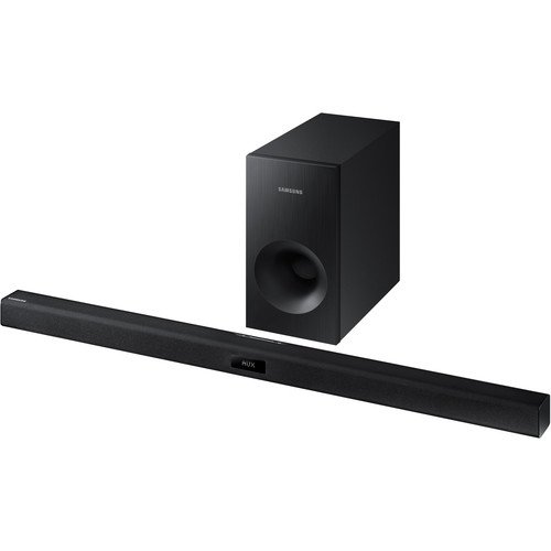 Samsung 2.1 Channel 120 Watt Sound Bar with Active Subwoofer Home Theater System, Bluetooth, Soundshare, Smart On, 6 DSP Settings,...