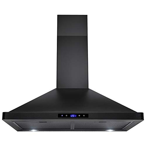 AKDY Convertible Kitchen Wall Mount Range Hood in Black Painted Stainless Steel with Lights and Carbon Filters (30 in.)