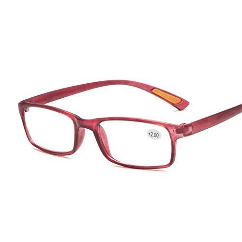 MTXD TR90 Small Frame Ultraleichte Lesebrille Damen & Herren Presbyopia Brillen +1.0 +1.5 +2.0 +2.5 +3.0 +3.5 +4.0-6.8.3 (Color : Red, Size : +100)