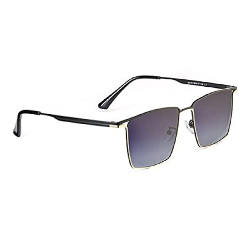 DLSM Moda Hombres Metal Gafas de Sol Deportes al Aire Libre Masculino Músculo Muy Apto para Correr, montaña, Bicicleta, Motocicleta, Conducir, Golf-Gris Negro Oro