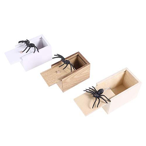 Spinne Prank Box, Holz Surprise Box April Fools Day Spoof Lustige Scare kleine Holzkiste Spinne Scary Mädchen for Kinder Erwachsene Party Favors Geschenke 3pcs zcaqtajro