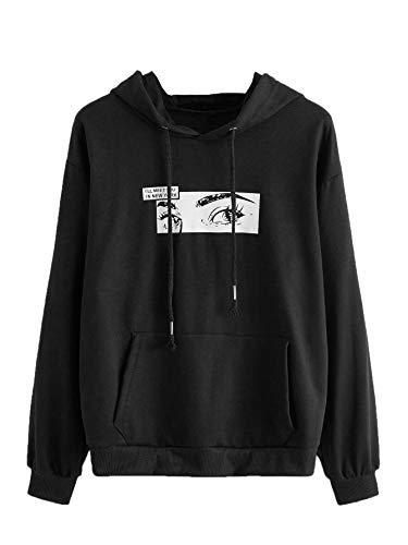 SweatyRocks Women's Hoodie Figure Print Long Sleeve Hooded Sweatshirt Pullover Top Black M