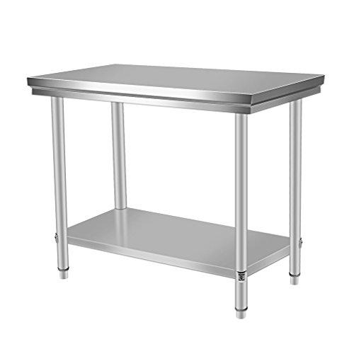Acero inoxidable trabajo para mesa de hostelería 100x 60x 80cm, estructura reforzada,...