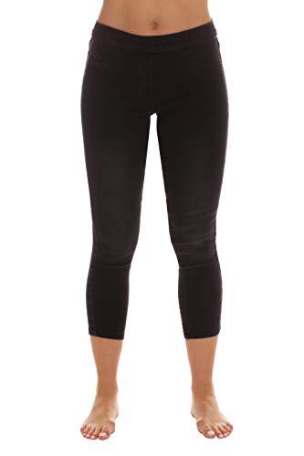 Just Love Pantalones de mezclilla Capri para mujer, Negro Denim Capri, M