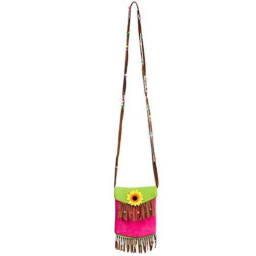 Boland 52270 - Handtasche Tropical, mehrfarbig, 22 mal 17 cm, neonpink/neongrün, in Lederoptik, mit Schulterriemen, Karneval, Kostümparty