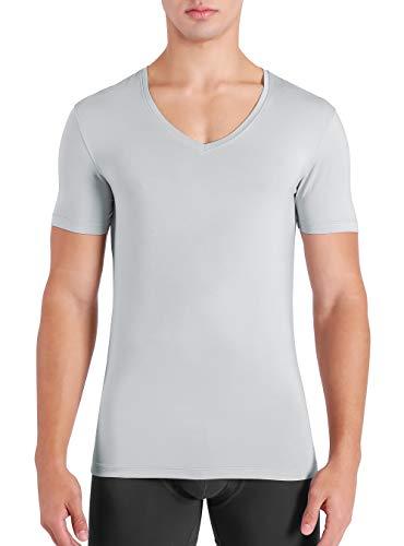 DAVID ARCHY Men's 3 Pack Micro Modal Underwear Soft Comfy Deep V-Neck Undershirts (M, Light Gray)
