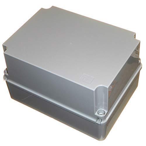 Caja de conexiones impermeable de 300 mm de profundidad con tapa con bisagras, 300 x 220 x 175 mm, IP56, carcasa de plástico PVC adaptable, cable de iluminación para exteriores, conexión eléctrica: