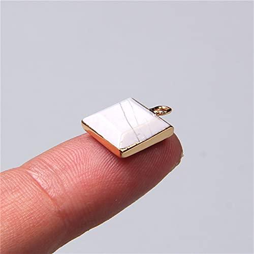 ZXCZXC Piedra de Gema Natural Crystal Cuadrado Geometría Colgantes de Encanto para Collar Pulsera Pendiente Joyería Haciendo Hecho A Mano 2pcs 12mm (Metal Color : 2 Howlite 2pcs)