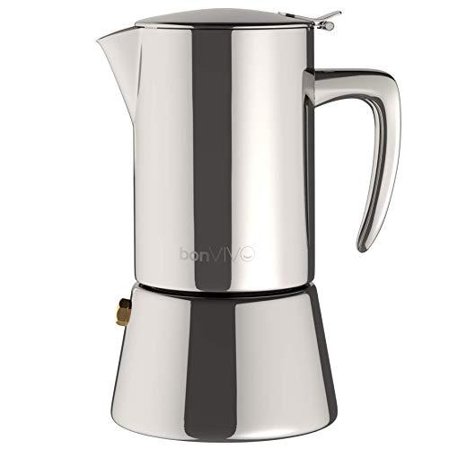 BonVIVO Intenca Caffettiera a Induzione, Moka a Induzione, Caffettiera In Acciaio Inox - Caffettiera Per Espresso/Caffettiera Da 2 Tazze In Acciaio Inox Con Rifiniture Cromate.