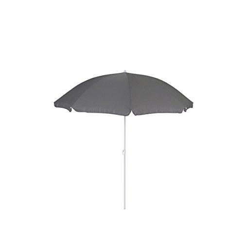 greemotion Sonnenschirm 2m mit UV-Schutz - Balkonschirm in Grau-Weiß - Gartenschirm knickbar - Terrassenschirm rund - Outdoor-Schirm für Balkon, Terrasse & Garten