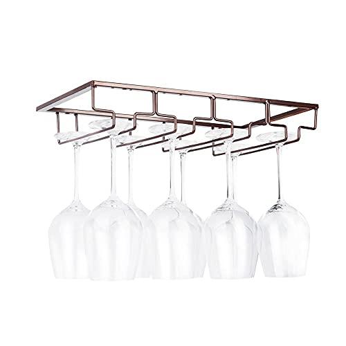 Estante dispensador para copas de vino, soporte para copas de vino, soporte para copas de vino, organizador de metal, dorado, 4 filas, 2 paquetes de lata (color: marrón, 4 filas, 1 paquete)