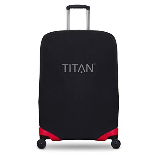TITAN Luggage Cover UNIVERSAL - aus elastischem Spandex Polyester für 4-Rad Trolleys L, 77 cm, Schwarz