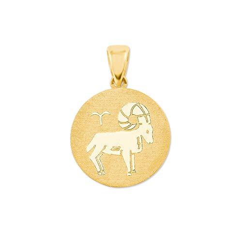 amor Anhänger Unisex Sternzeichen Widder rund 375 Gold teilmattiert