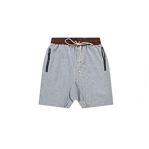 New Men Drop Crotch Boardshort Zippered Pocket Shirt Kanye West Justin Bieber Drawstring Summer Cargo Shorts Homme,Gray,XL