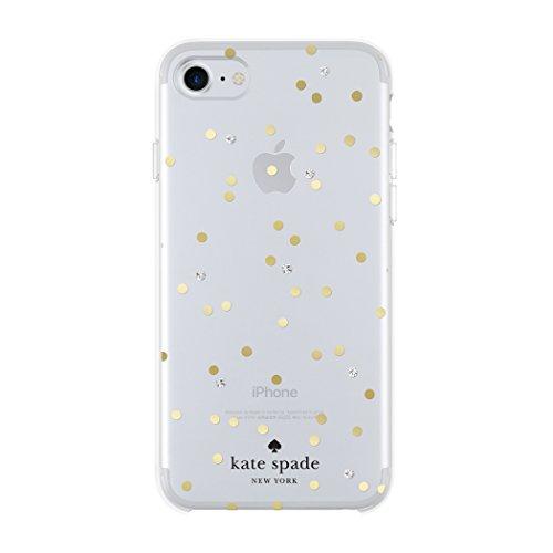 Kate Spade New York Cell teléfono móvil para iPhone 8/7/6/6S–Multi diseño de Lunares Dorado con Gemas