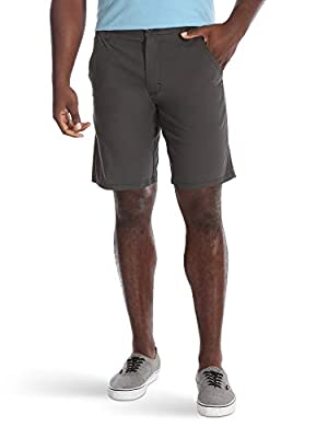Wrangler Authentics Men's Performance Comfort Waist Flex Flat Front Short, Anthracite, 42 by Wrangler Authentics