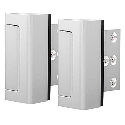 """Door Security Lock, Child Proof Door Reinforcement Lock with 2"""" Stop 4Screws for Inward Swinging Door, Double Safety Security Protection for Your Home(2PACK)"""