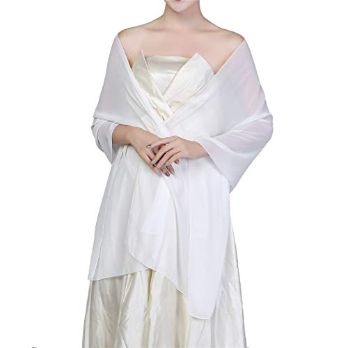 Soft Chiffon Shawls and Wraps for Evening Dresses, Wedding Shawl Wrap Fringes Scarf for Special Occasions (Chiffon, White)