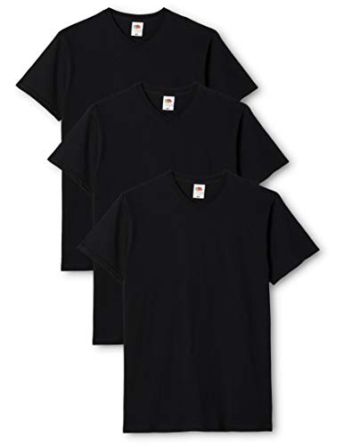 Fruit of the Loom Valueweight V Neck T 3 Pack T-Shirt, Noir, (Taille Fabricant: X-Large) Homme