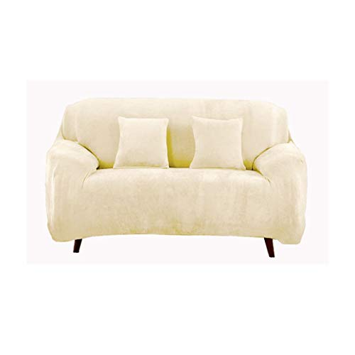 JS One Stretchable 2 Seater Sofá Cover Slipcover Couch Protector - (145-185cm) Crema