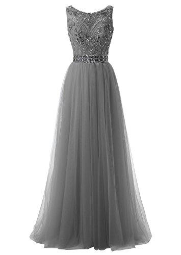 Callmelady Hoher Hals Tüll Abendkleider Lang Elegant für Hochzeit Ballkleider Damen mit Schlüsselloch Zurück (Grau, EU38)