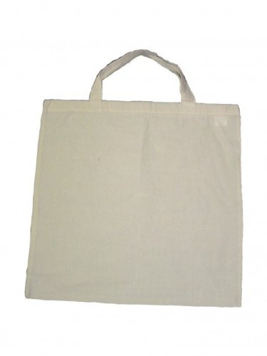 5 Baumwolltragetasche UNBEDRUCKT 50x50 kurzer Henkel