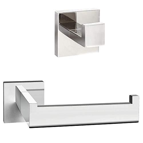ECENCE Set Toilettenpapierhalter Handtuchhalter - Eckiges Design - Badezimmeraccessoires - aus rostfreiem Edelstahl Chrom 24010305