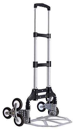 Folding Hand Trolley, Stair Climbing Shopping Cart, Portable Industrial Hand Trolley, Adjustable Handle, 360° Rolling Swivel Wheels Multi-functional Grocery Trolley (Color : C)
