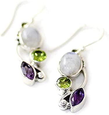 Light Blue//Purple//Champagne Gold//Wine Red//Green 925 Silver Needle Drop Earrings with Acrylic Stone and Glass Teardrop Stone Bamos Dangle Earrings for Women and Girls