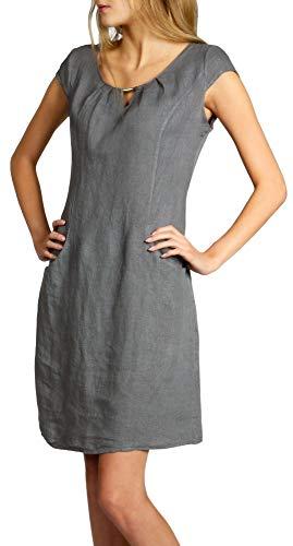 Caspar SKL020 knielanges Damen Sommer Leinenkleid mit eleganter Metallspange bis Größe 50, Farbe:grau, Größe:L - DE40 UK12 IT44 ES42 US10