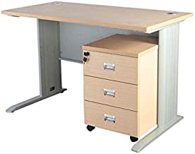 Mahmayi MDF Station Modern Office Desk with Drawers, ME1260Oak_d, Multi-Colour, H75 x W60 x D120 cm, Require Assembly