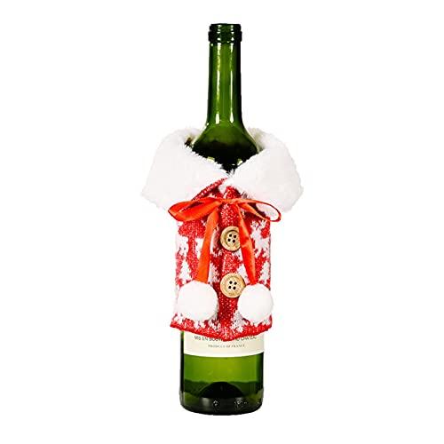 KaKaDz Bolsas de Botella de Vino de Navidad, 2PCS Decoración navideña Solapa imitación de Lino Impreso Bolsa de Botella de Vino Tinto para decoración del hogar (Color : D)