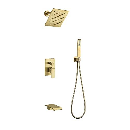 WXDL Gebürstetes Gold Duschsystem Unterputz Duschset Regendusche Wandhalterung Regendusche Duschkopf mit 8 Zoll Quadrat Regendusche, Handbrause, Wasserfall Badewanne Wasserhahn