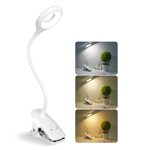 Semlos Leselampe, Drahtlose Klemmlampe, Klemmleuchte Wiederaufladbar, 3W 28 LEDs, Warmes Licht / Warmweißes Licht / Weißes Licht, 3 Farbtemperatur,3 Helligkeit