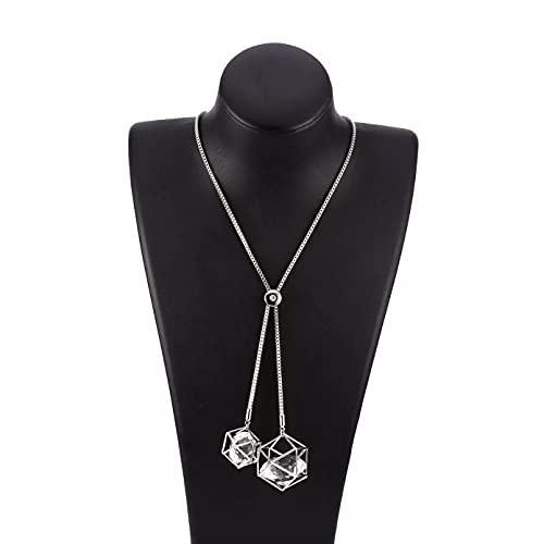 Moda Collar Joyas Gargantilla Collar con colgante de cubo de cristal grande,...