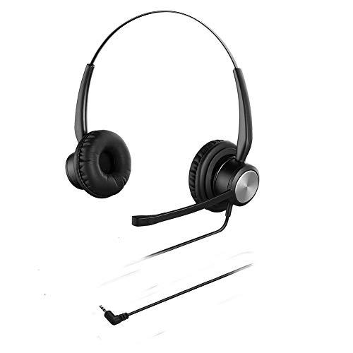 Oppetec Auriculares con Cable de 2,5 mm para teléfonos fijos de Oficina Teléfonos inalámbricos compatibles con Yealink Avaya Panasonic Polycom Cisco Ericsson.