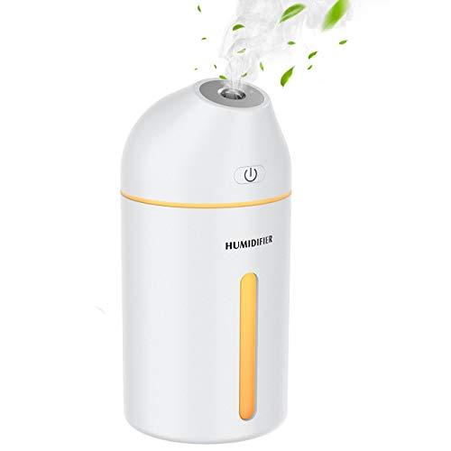 Homasy Luftbefeuchter,320 ml tragbarer Mini-Luftbefeuchter,mit kühlem Nebel, USB Luftbefeuchter für Auto Baby Schlafzimmer Reisebüro,28 dB, 2 Nebelmodi, bis zu 8 Stunden-Weiß