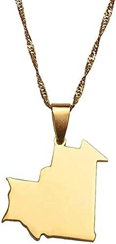Yiffshunl Collar Mapa de Color Dorado de Mauritania Collar Colgante para Mujeres Hombres mapas de Mauritania Regalos de joyería