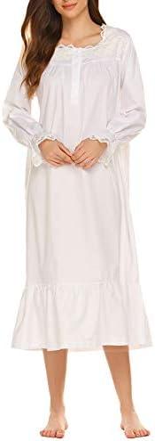 Ekouaer Sleepshirt Womens Long Sleeve Night Gowns Cotton Sleep Dress White Small product image