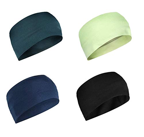 XECTUS 4pcs Headbands with in 4 Colors Hair Accessories for Women Men Moisture Wicking Sweatband Sports Head Wrap for Yoga Sports Outdoor Activities (Multi-12)