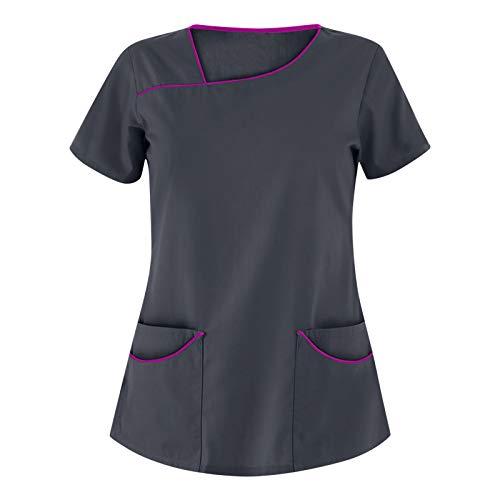 UNHU Damen Pflege Berufskleidung Uniformen Einfarbig V-Ausschnitt Kurzarm Schlupfkasack Frauen Übergröße Kasack Pflege Pflegebekleidung mit Taschen