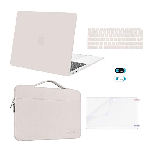 MOSISO Compatible with MacBook Air 13 inch Case 2020 2019 2018 Release A2337 M1 A2179 A1932 Retina Display Touch ID, Plastic Hard Shell&Bag&Keyboard Cover&Webcam Cover&Screen Protector, Rock Gray