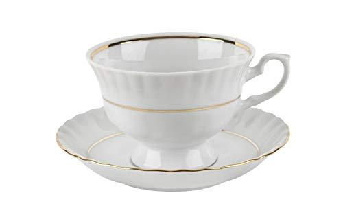 Filiżanka do kawy WITEK HOME z dopasowanym spodkiem, wykonana z porcelany, dostępna w różnych wzorach i dekorach, nadaje się do kuchenki mikrofalowej i zmywarki