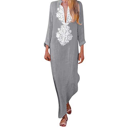 ZODOF Mujer vestido largo Bohemian estilo ropa de playa Otoño Mujer estampado largo decuello en V y manga larga con dobladillo dividido largo holgado cintura alta bohemio vestidos largos Maxi Vestidos