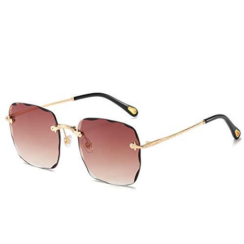 QINGZHOU Gafas de Sol,Gafas de sol de moda de vanguardia, gafas de sol cuadradas sin montura de color degradado, gafas rojas personalizadas, té progresivo