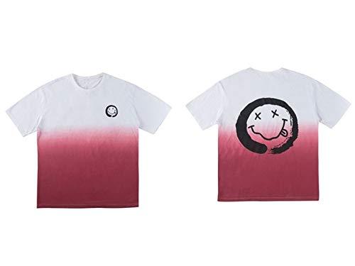 GVDFSEYL Smile Gezicht Graffiti Print Tie Dye Tees met korte mouwen Shirts Hip Hop Streetwear Casual Tshirts Hipster Zomer Tops