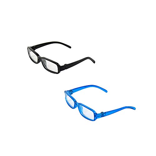 American Fashion World Two Pair of Black and Blue Reading Glasses | Fits 14' Wellie Wisher Dolls | 14 Inch Doll Accessories